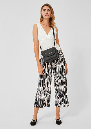 Culottes: Crêpe trouser with a printed pattern from s.Oliver