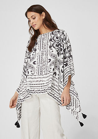 Lightweight poncho with tassels from s.Oliver