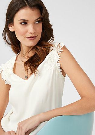 Crêpe shirt met kant