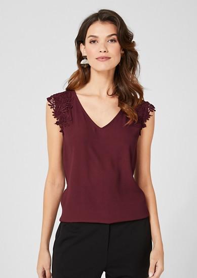 Crêpe-Blusenshirt mit Spitze
