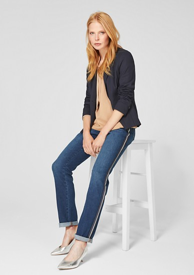 Sally Straight: Jeans with decorative stripes from s.Oliver