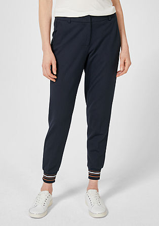 Rachel slim: Jersey broek met zoomboordje