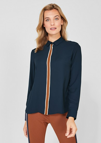 Crêpe blouse with a contrasting trim from s.Oliver