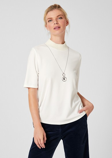 T-shirt with band collar from s.Oliver