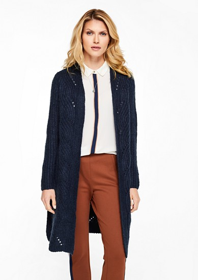 Long-Cardigan mit Zopfmuster
