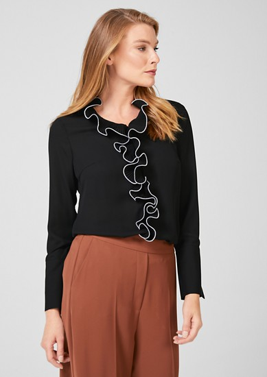 Crêpe blouse with pleated frills from s.Oliver