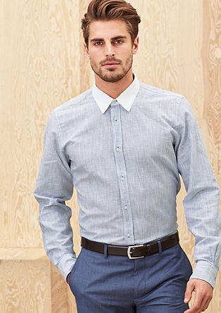 Regular: Long-sleeved shirt with a contrasting collar from s.Oliver