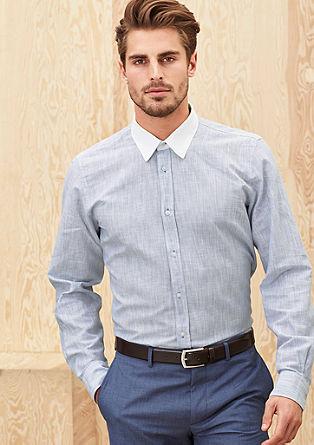Regular: Langarmhemd mit Kontrastkragen