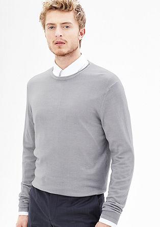 Lahek volnen pulover s posebnim učinkom barvnega pranja