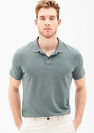Poloshirt met garment-washed look