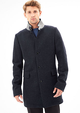 Unlined, wool coat in interlock fabric from s.Oliver