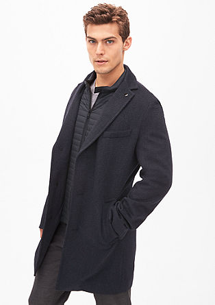 Slim: Patterned wool coat from s.Oliver