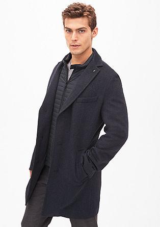 Slim: Wollen mantel met dessin