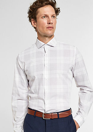 Slim: Hemd mit Gitterkaro-Muster
