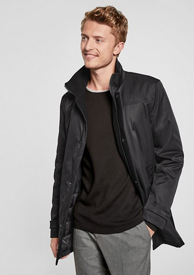Stand-up collar jacket with a silky matte finish from s.Oliver