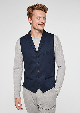 Slim: Waistcoat with a subtle melange finish from s.Oliver