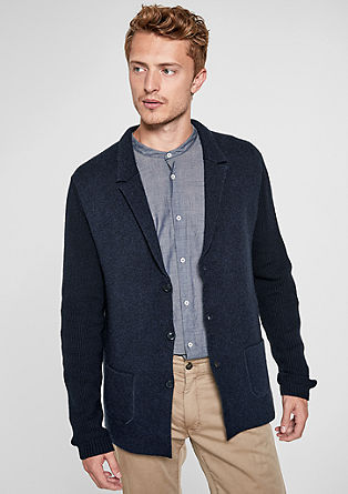 Blended wool cardigan in a sports jacket design from s.Oliver