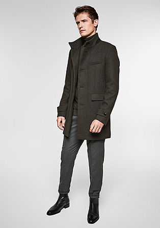 Slim: Wool coat with woven texture from s.Oliver