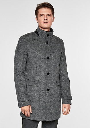 Check coat with a stand-up collar in blended wool from s.Oliver