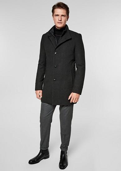 Slim: Eleganter Wollmantel mit Insert