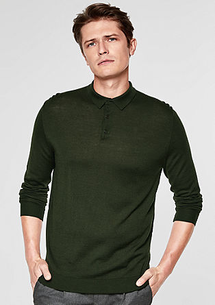 Fine merino wool jumper with a collar from s.Oliver