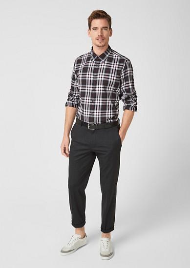 Slim fit: geruit overhemd van flanel