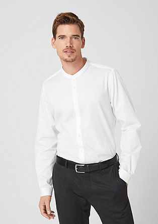 Slim fit: overhemd zonder kraagje