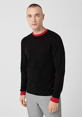 Fijngebreide trui met contrast