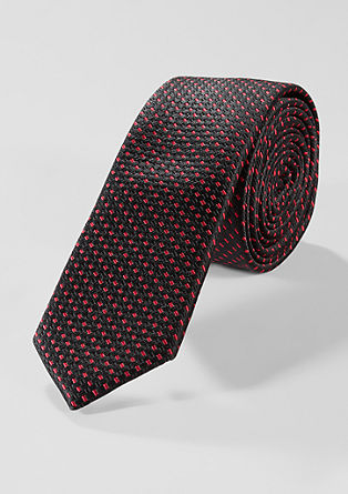 Blended silk tie with a woven pattern from s.Oliver