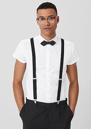 Slim: overhemd met korte mouwen en vlinderstrik