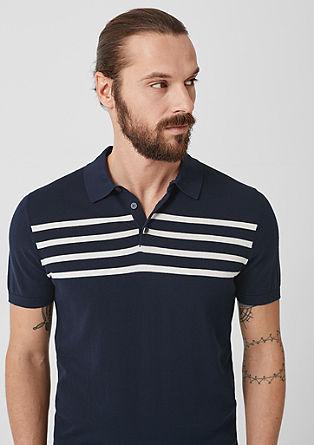Polo majica iz fine pletenine s črtami