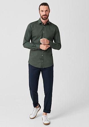 Slim: stretchoverhemd van een materiaalmix