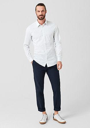 Slim: overhemd met stretch en motief