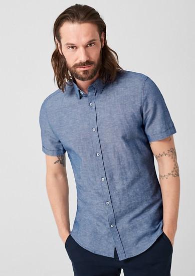 Slim: Hemd aus Leinen-Blend
