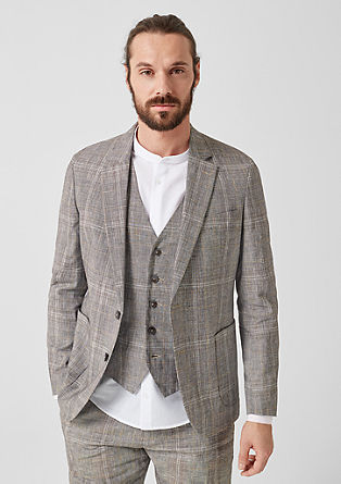 Slim: Prince of Wales check sports jacket with linen from s.Oliver