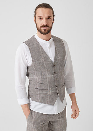 Slim: Prince of Wales check waistcoat with linen from s.Oliver