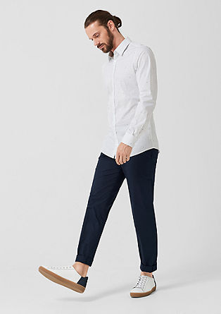 Slim: pantalon van katoen-satijn