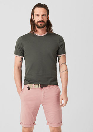 Slim: Chino Bermudas with a belt from s.Oliver