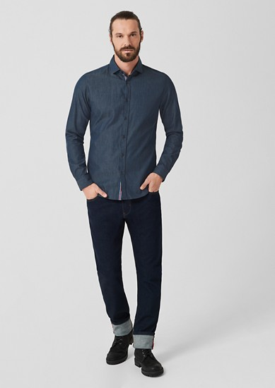 Slim: Twill shirt with shark collar from s.Oliver