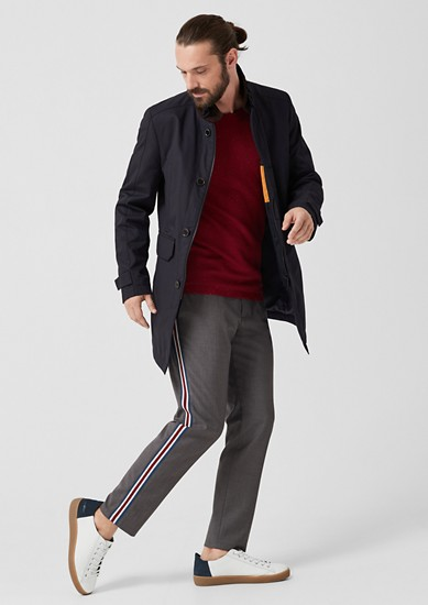 Twill business coat with contrasting collar from s.Oliver