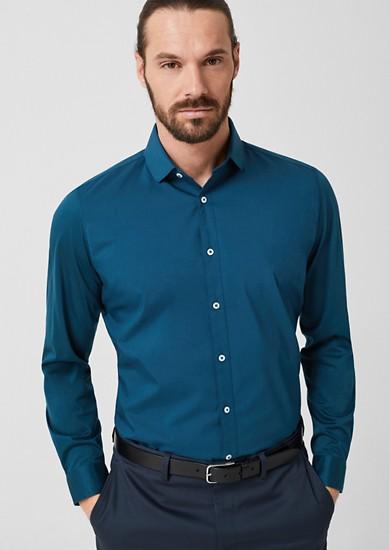 Slim: overhemd van een materiaalmix met stretch