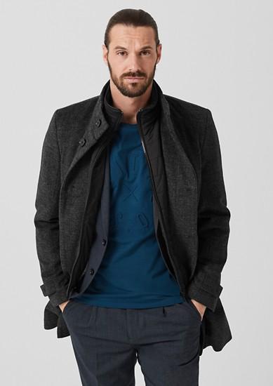 Elegante wollen mantel met opstaande kraag