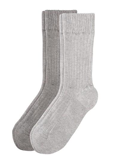 Set van 2 paar geribde sokken
