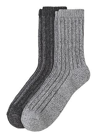 Set van 2 paar ribgebreide sokken