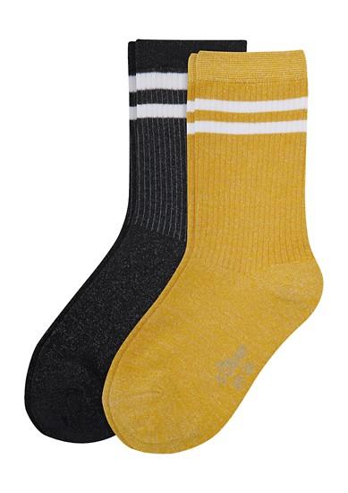Set van 2 paar geribde sokken met glittergaren