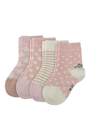 4er-Pack gemusterte Baby-Socken