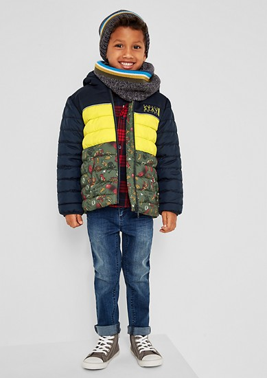 Padded quilted jacket with a hood from s.Oliver