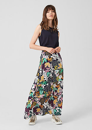 Long skirt with a floral print from s.Oliver