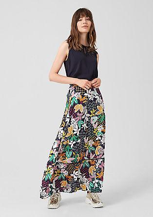 Dlouhá sukně skvětovaným potiskem
