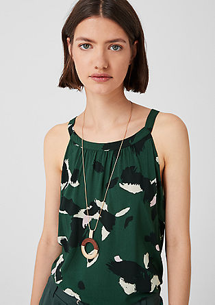 Mouwloze blouse met motiefprint